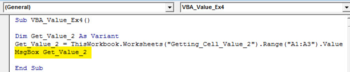 work sheet cell value
