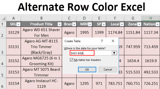 Alternate row color in excel