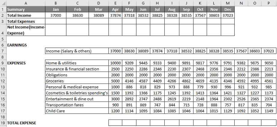 Budget in Excel Example 1-1