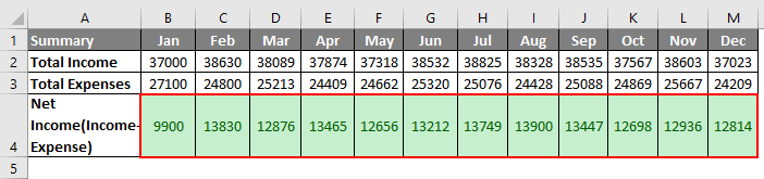 Budget in Excel Example 1-11