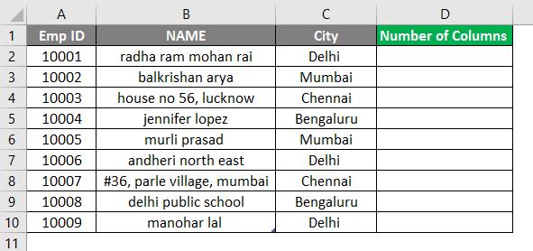 COLUMNS formula example 1-2