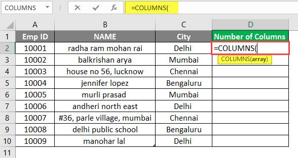COLUMNS formula example 1-3