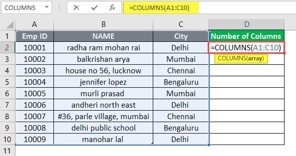 COLUMNS formula example 1-4
