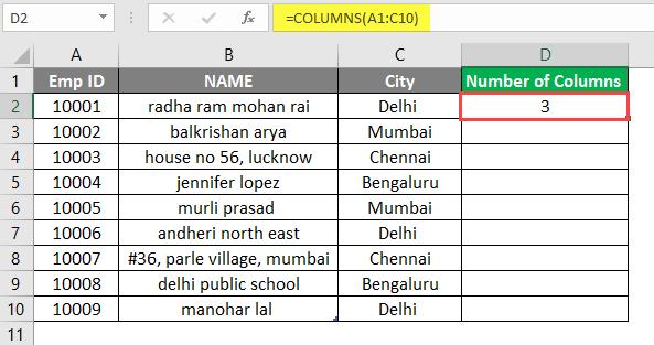 COLUMNS formula example 1-5