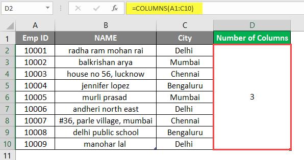 COLUMNS formula example 1-6