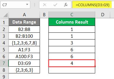 COLUMNS formula example 2-14