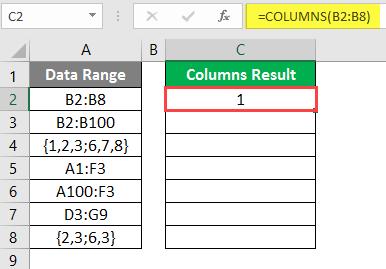 COLUMNS formula example 2-4