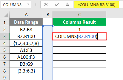 COLUMNS formula example 2-5