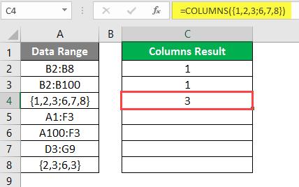 COLUMNS formula example 2-8