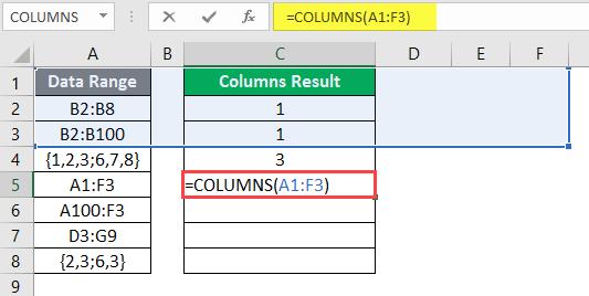 COLUMNS formula example 2-9