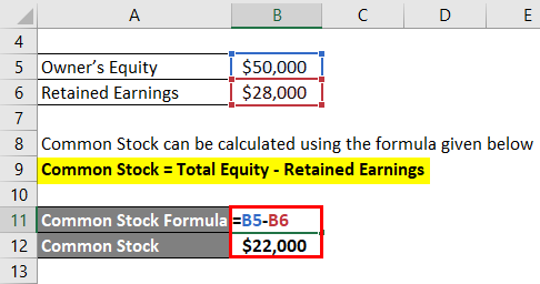 Common Stock Formula Example 1-2