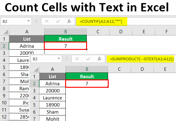 Count Cells with Text in Excel