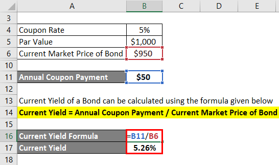 Current Yield of a bond Formula Example 1-3