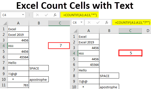 Excel Count Cells with Text