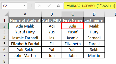 Excel Text with Formula example 1.1