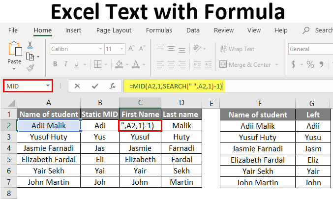 Excel Text with Formula