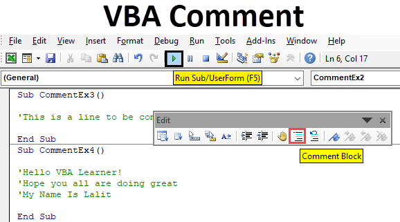 Excel VBA Comment