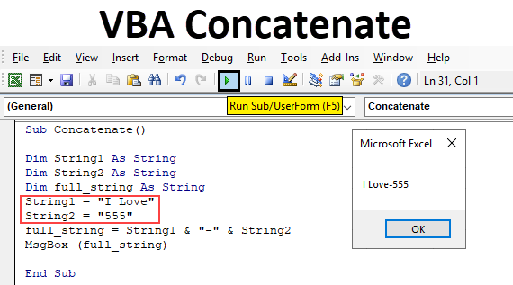 VBA Concatenate | How to Use Concatenate Function in VBA Excel?
