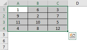 Excel function for range 1