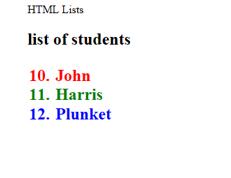 HTML List