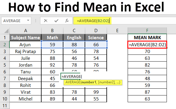 How to Find Mean in Excel