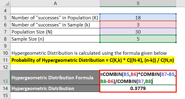 Hypergeometric Distribution Formula Example 1-2