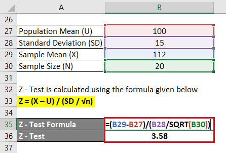 Hypothesis Testing Formula Example 2-3