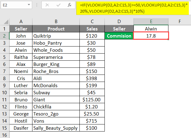 IF VLOOKUP Example 3-3