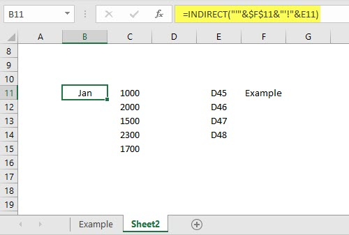 INDIRECT formula with Two Worksheets example 4.3