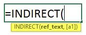 Indirect formula in excel 1.5