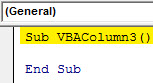 VBA column 3