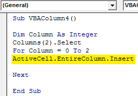 Insert column Example 4.6