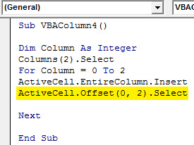Insert column Example 4.7