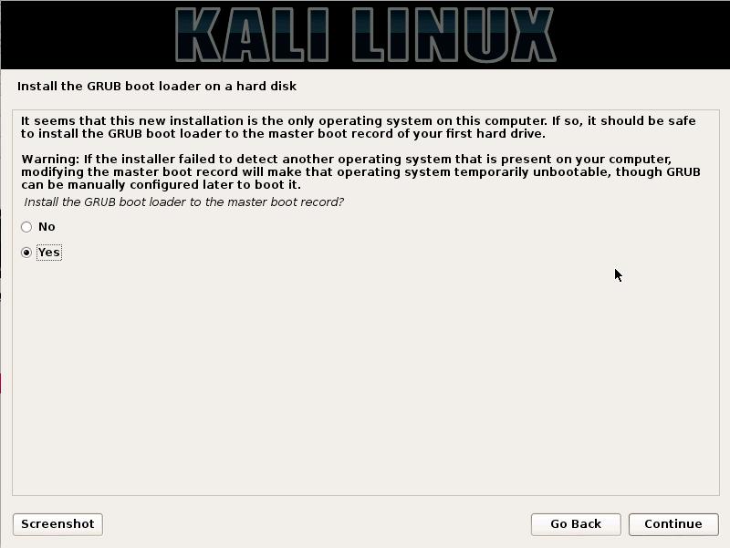 Kali Linux - install GRUB