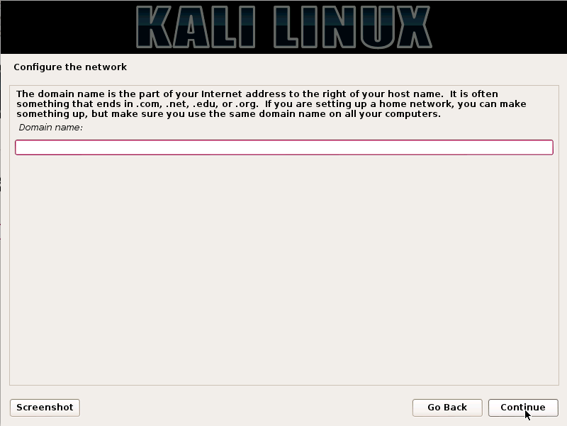 Kali Linux - domain name