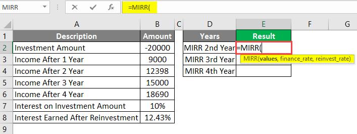 MIRR formula in excel example 1-1