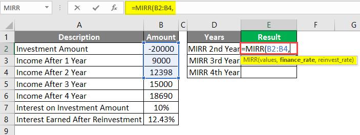 MIRR formula in excel example 1-2
