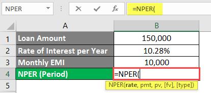 NPER Formula in excel example 1-4