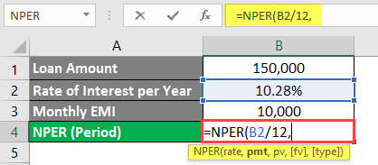 NPER Formula in excel example 1-5