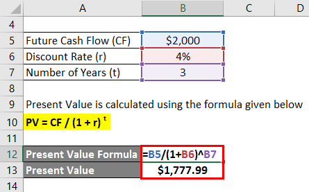 Present Value Formula Example 1-2