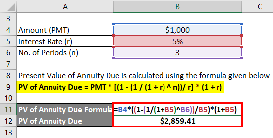 Present Value of Annuity Due Formula Example 1-2