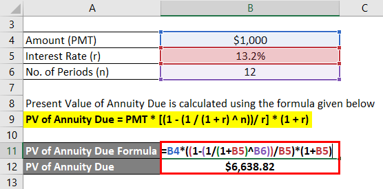 Present Value of Annuity Due Formula Example 3-2