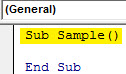 Sub Sample module of VBA