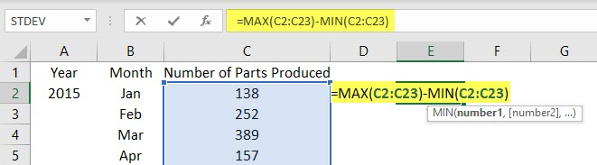 Use Ranges in Excel Example 2.2