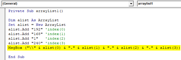 VBA ArrayList Example 1-8