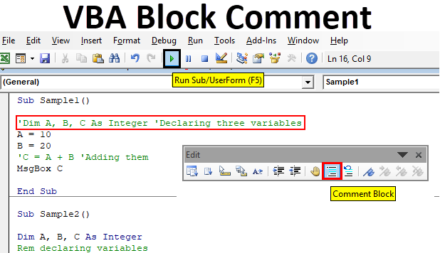 VBA Block Comment