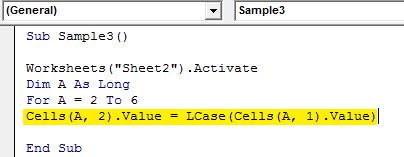 VBA LCase Example 4.5