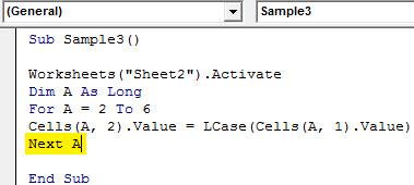 VBA LCase Example 4.6