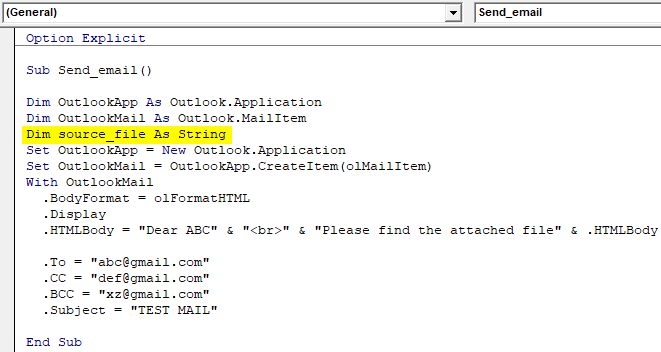 vba code to attach file to outlook email