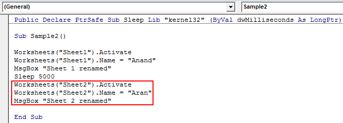 VBA Sleep Example 3-6
